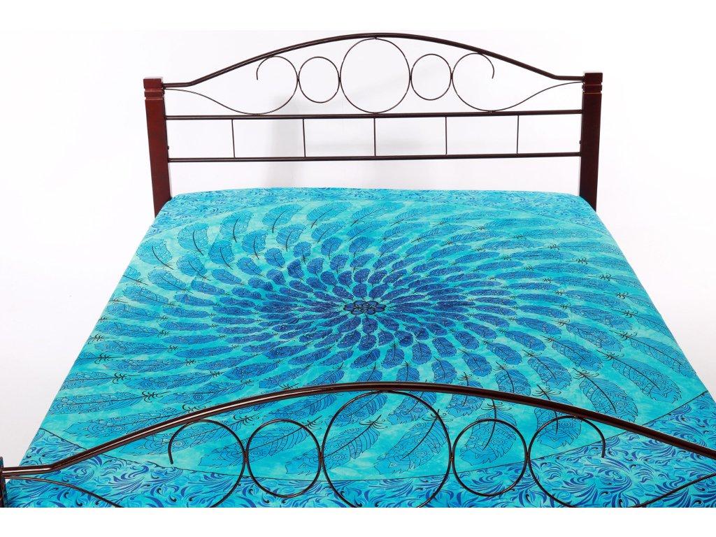 Přehoz mandala z pírek - modrý