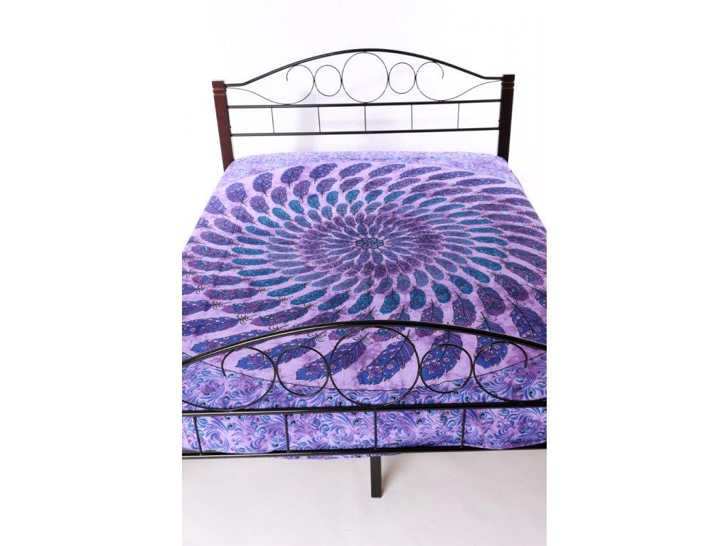 Přehoz mandala z pírek - fialový