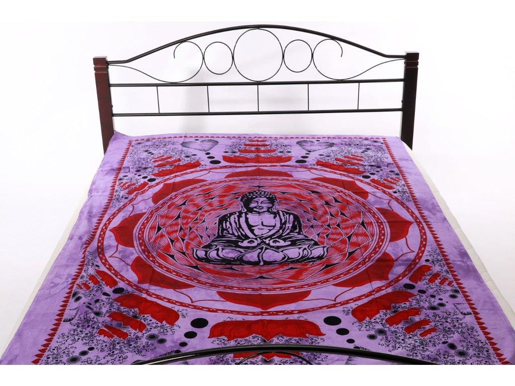 Přehoz Buddha - červeno-fialový