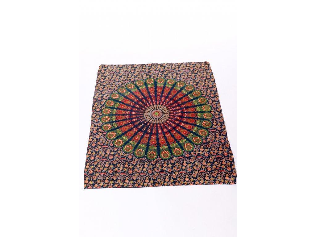 Dekorace mandala - kombinace modré, zelené, červené