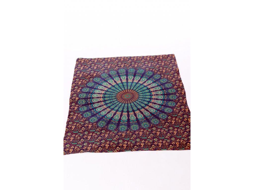 Dekorace mandala - kombinace modré, tyrkysové, hnědé