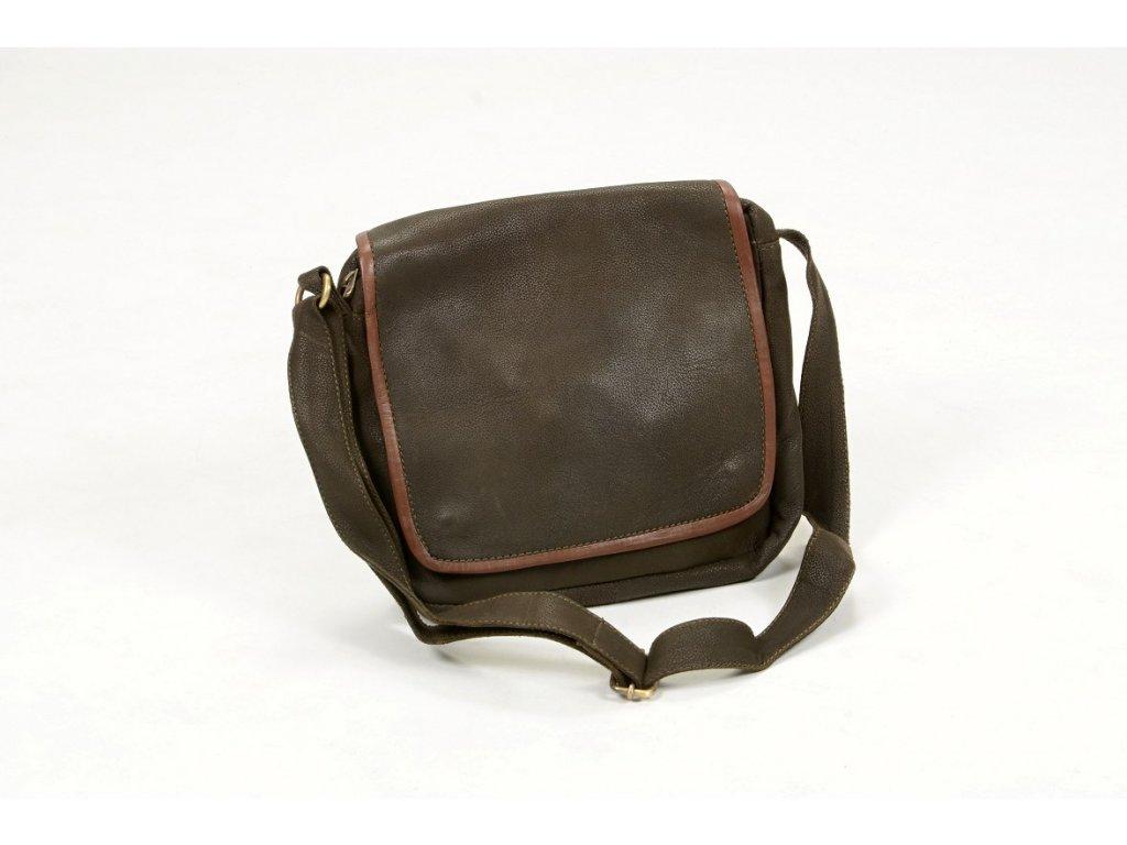 Kožená taška přes rameno s lemem Tmavě zelená