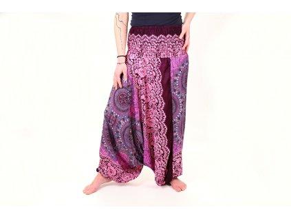 Kalhoty dámské orientální fialkové