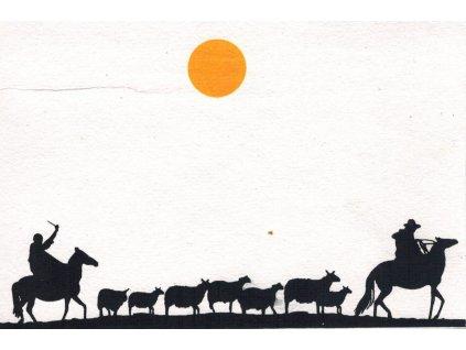 Přání s nomády - dva muži na koních se stádem koz