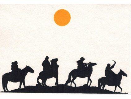 Přání s nomády - čtyři muži na koních