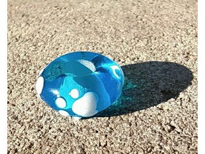 Skleněná perla tlapička modrá A
