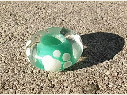 Skleněná perla tlapička zelená A