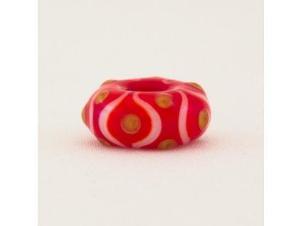 Skleněná perla květina červená