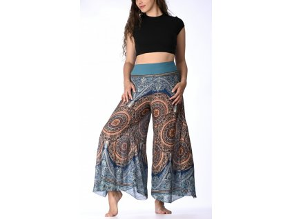 damske kalhoty modrohnede kruhy 1
