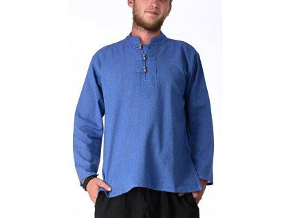 Kurta-košile modrá s dřevěnými knoflíky