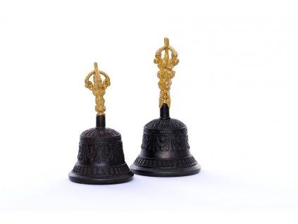 Tibetský rituální zvonek Dilbu a dorje v černé