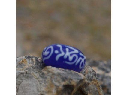 Skleněná perla s mantrou Modrá