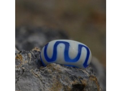 Skleněná perla tibetský lem Tmavě modrá