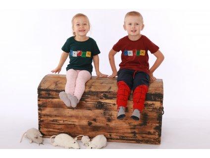 Dětské tričko praporky Lungta červené