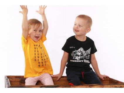 Dětské tričko abeceda Dévanágarí žluté