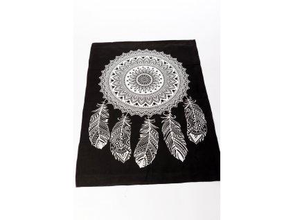 Dekorace lapač snů - černobílá