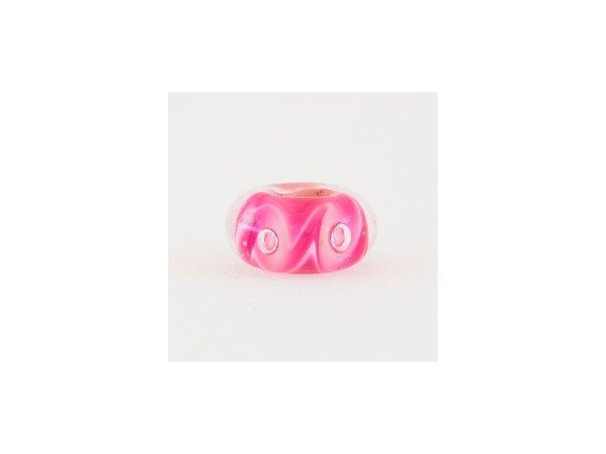 Skleněná perla hvězdná spirála růžová