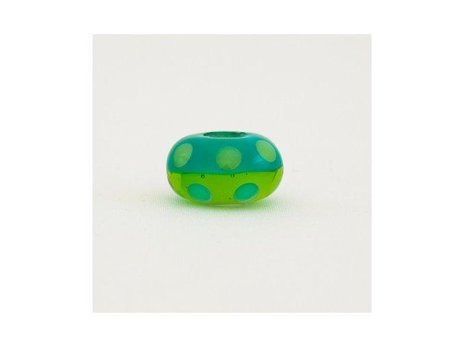 Skleněná perla puntík zelený