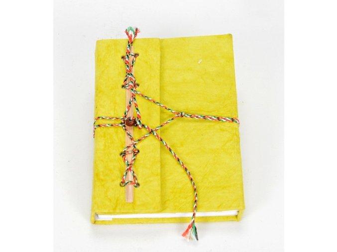 Deník z ručního papíru žlutozelený velký