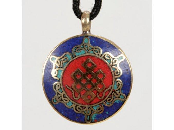 Přívěsek kovový mandala - nekonečný uzel modrý