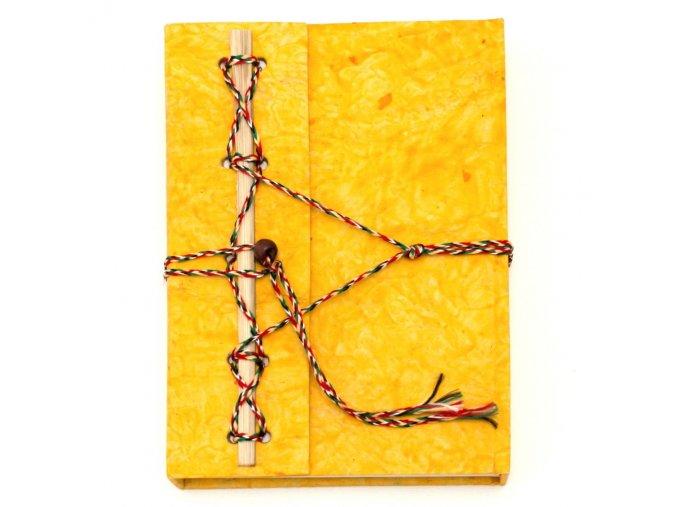 Deník z ručního papíru žlutý velký