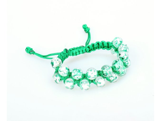 Náramek stříbřitý zelený