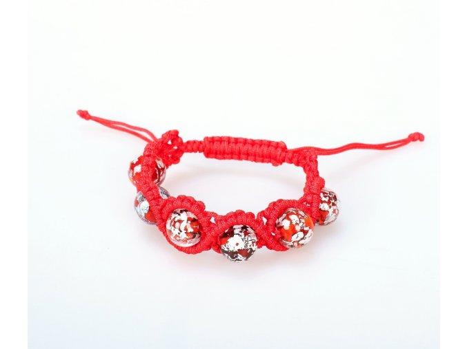 EL5A0014 (1) Náramek pletený s perlami červený