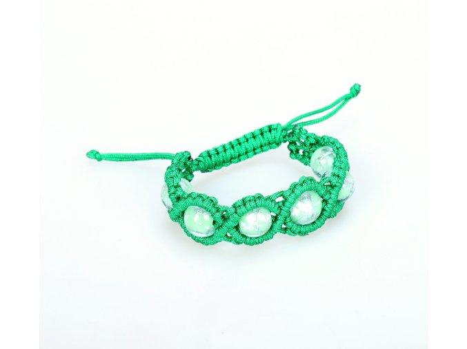 Náramek pletený s perlami zelený