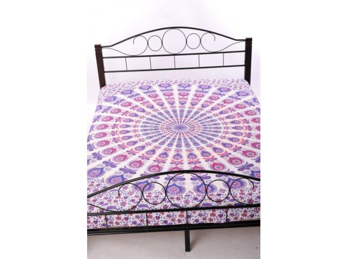 přehoz na postel mandala v bílém