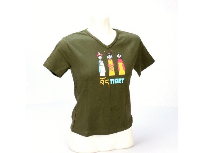 Tričko tři Tibeťanky dívčí zelené