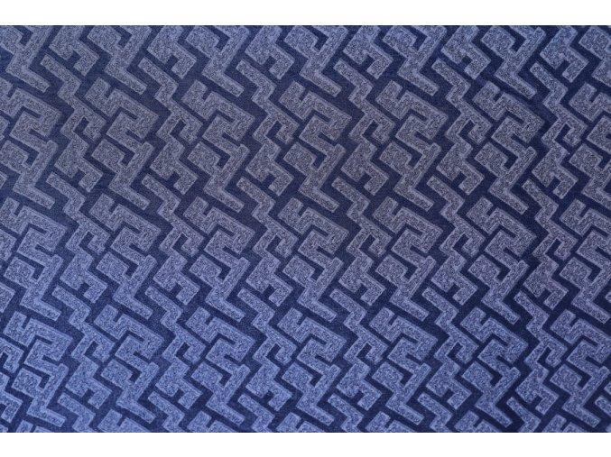 Hedvábná látka se vzorem námořnická modř
