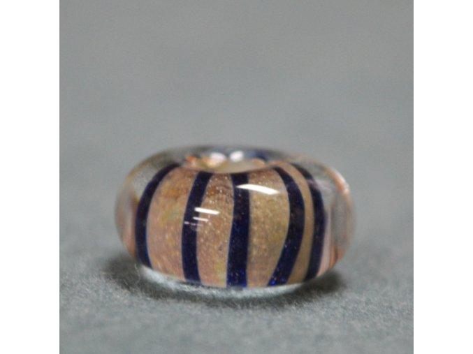Skleněná perla třpytivá Pruhovaná