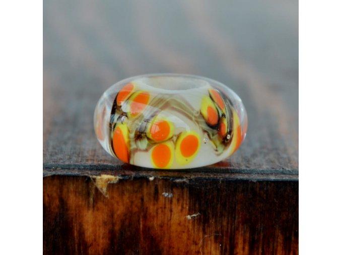 Skleněná perla oranžový háj
