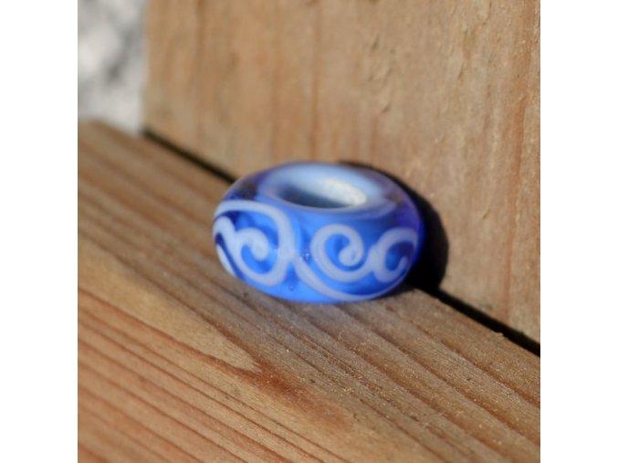 Skleněná perla modrá krajka