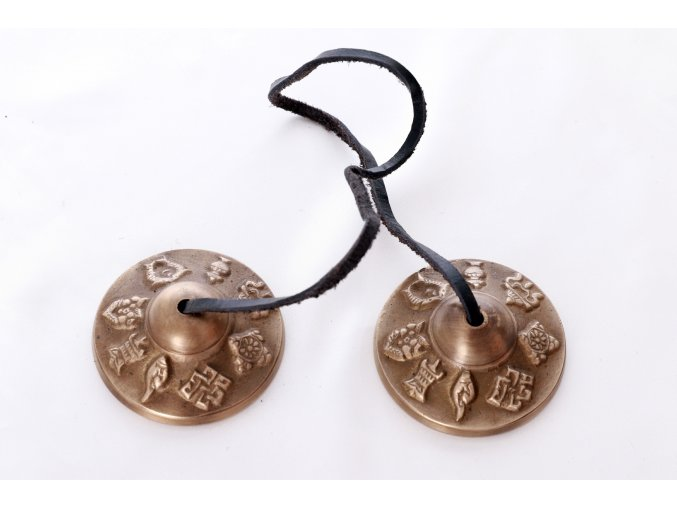 Tibetské činelky Tingsha - velké - 8 šťastných symbolů