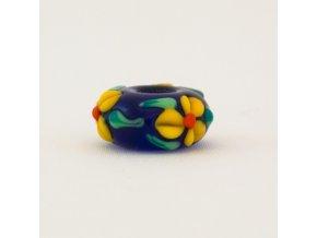 Skleněná perla květinový ornament