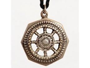 Přívěsek kovový - Kolo Dharmy