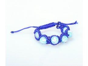 Náramek pletený s perlami modrý