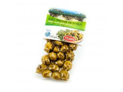 Laios zelene olivy s peckou vakuum 250g