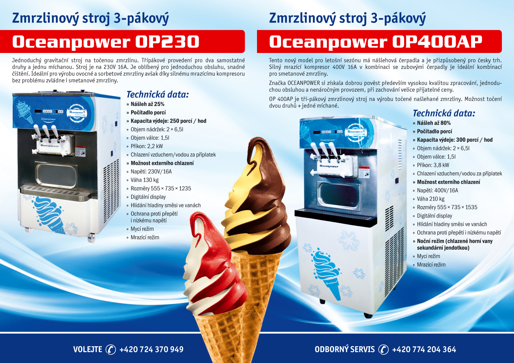 Zmrzlinový stroj OCEANPOWER OP400AP - sada těsnění
