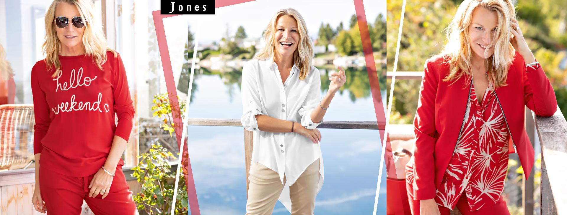 JONES - Práce designérů značky Jones je poháněna vášní pro prvotřídní dámskou módu i nejnovější trendy. Každoročně uvede na trh více než 20 kolekcí, které nabízí společenskou módu i pohodlné volnočasové outfity.