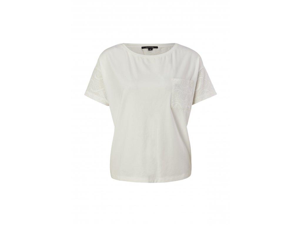 Bílé triko s krajkovaným rukávem