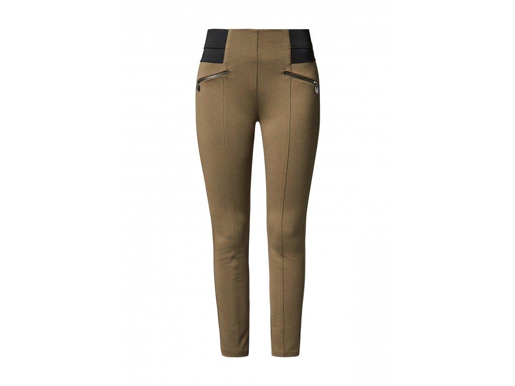 Khaki legínové kalhoty