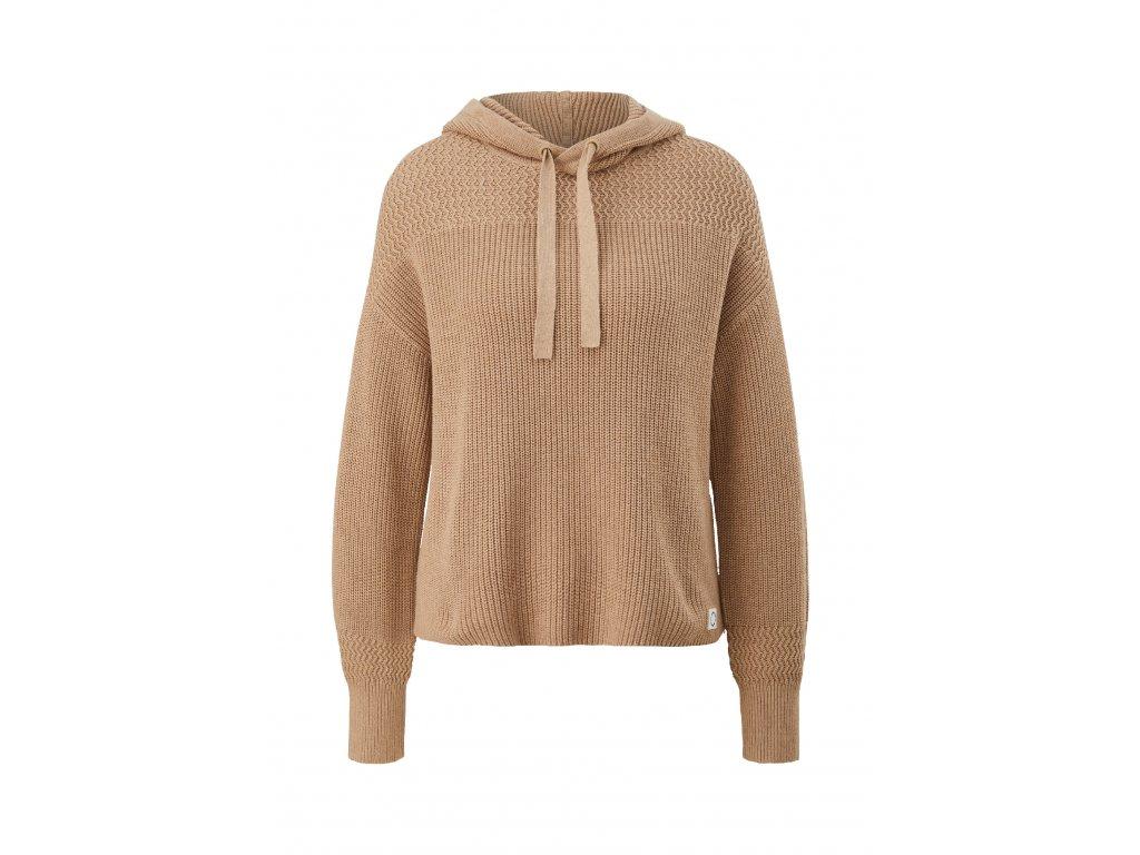 Pletený pulovr s kapucí