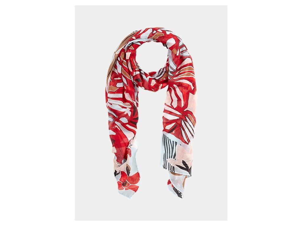 Červený šátek s potiskem