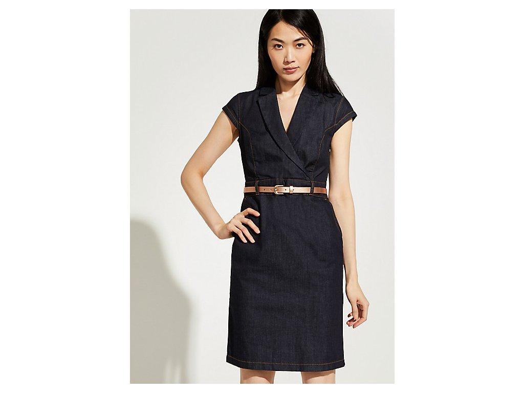Denimové šaty s páskem