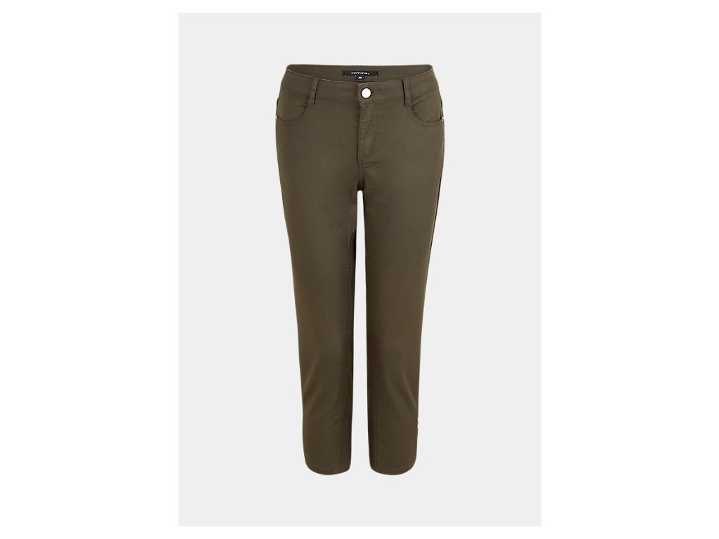 Khaki capri kalhoty