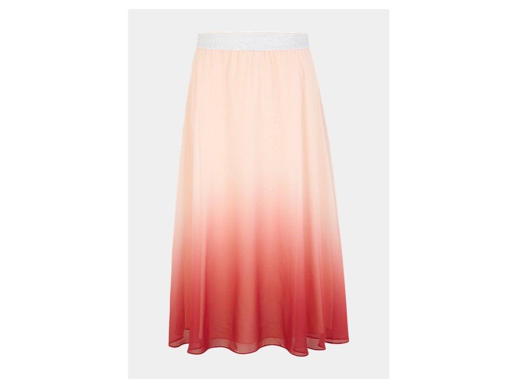 Korálová midi sukně