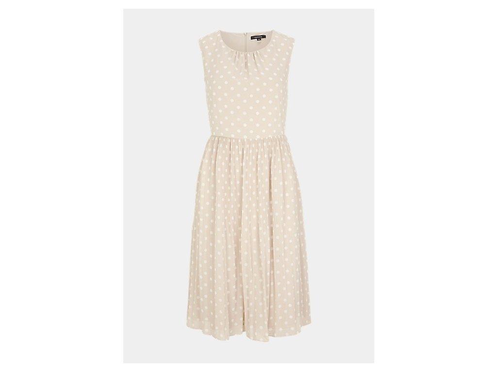 Béžové šaty s puntíkem