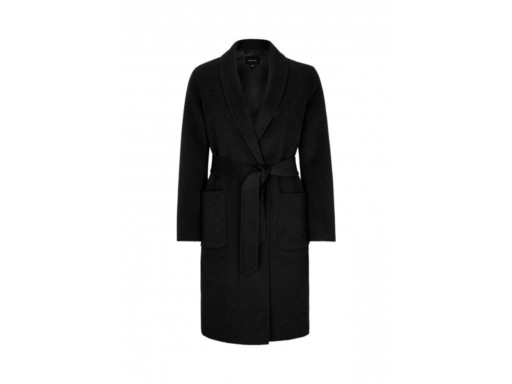 Vlněný černý kabát